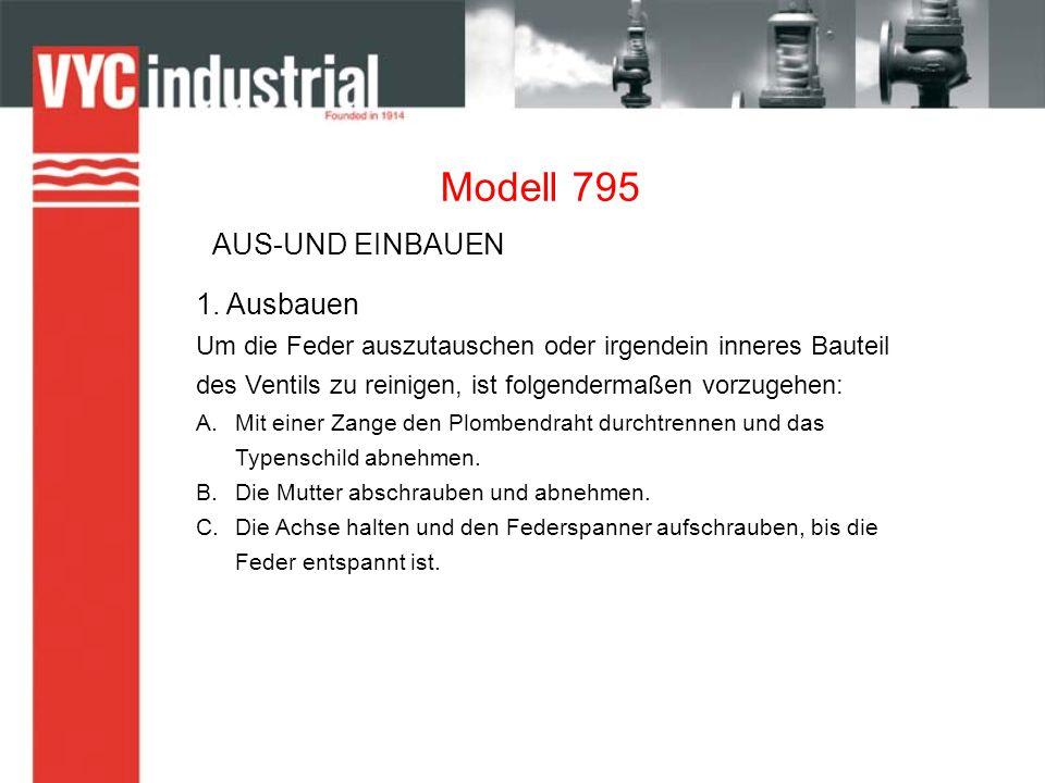 Modell 795 2.Einbauen A.In den oberen Teil der Achse die Unterlegscheibe und dann die Feder.