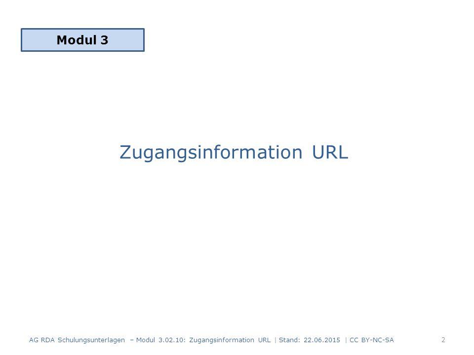 Zugangsinformation URL Modul 3 AG RDA Schulungsunterlagen – Modul 3.02.10: Zugangsinformation URL | Stand: 22.06.2015 | CC BY-NC-SA 2