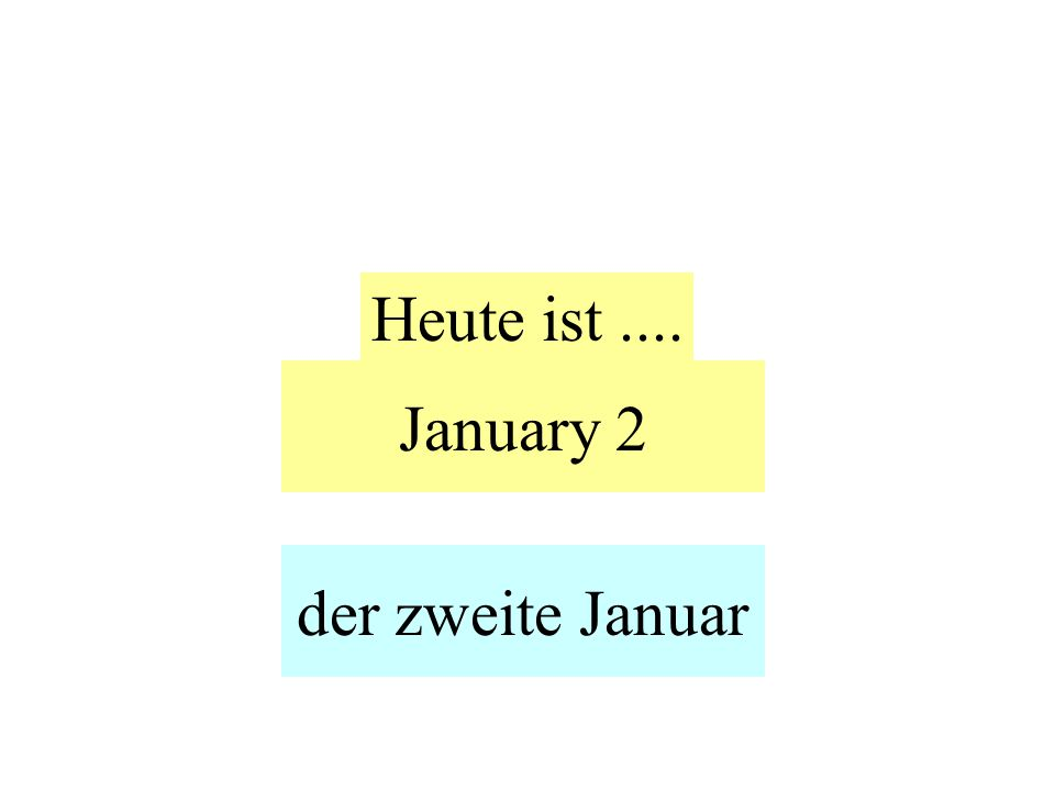 January 2 Heute ist.... der zweite Januar