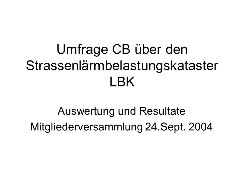 Umfrage CB über den Strassenlärmbelastungskataster LBK Auswertung und Resultate Mitgliederversammlung 24.Sept.