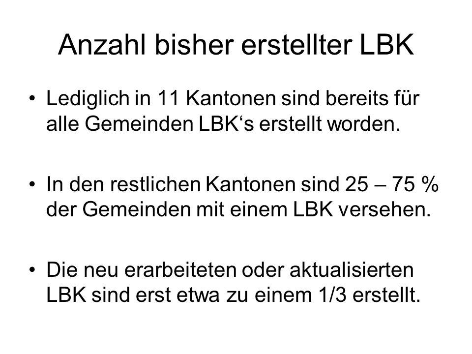 Anzahl bisher erstellter LBK Lediglich in 11 Kantonen sind bereits für alle Gemeinden LBK's erstellt worden.