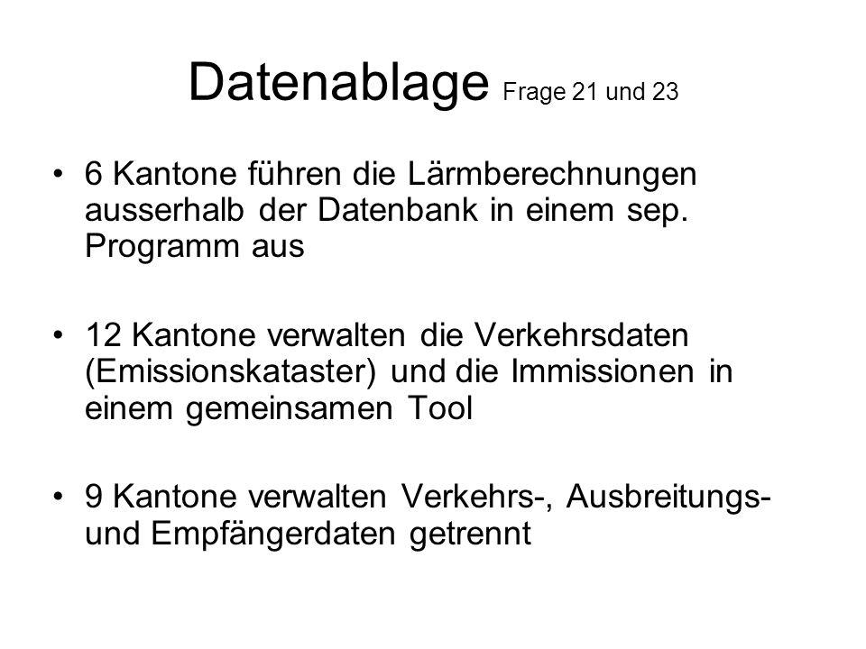 Datenablage Frage 21 und 23 6 Kantone führen die Lärmberechnungen ausserhalb der Datenbank in einem sep.
