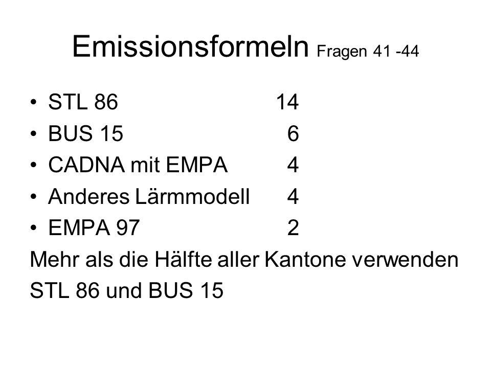 Emissionsformeln Fragen 41 -44 STL 8614 BUS 15 6 CADNA mit EMPA 4 Anderes Lärmmodell 4 EMPA 97 2 Mehr als die Hälfte aller Kantone verwenden STL 86 und BUS 15