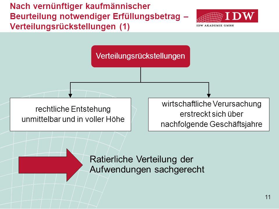 11 Nach vernünftiger kaufmännischer Beurteilung notwendiger Erfüllungsbetrag – Verteilungsrückstellungen (1) Verteilungsrückstellungen rechtliche Ents