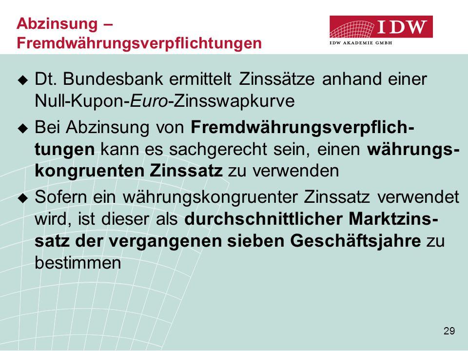 29  Dt. Bundesbank ermittelt Zinssätze anhand einer Null-Kupon-Euro-Zinsswapkurve  Bei Abzinsung von Fremdwährungsverpflich- tungen kann es sachgere