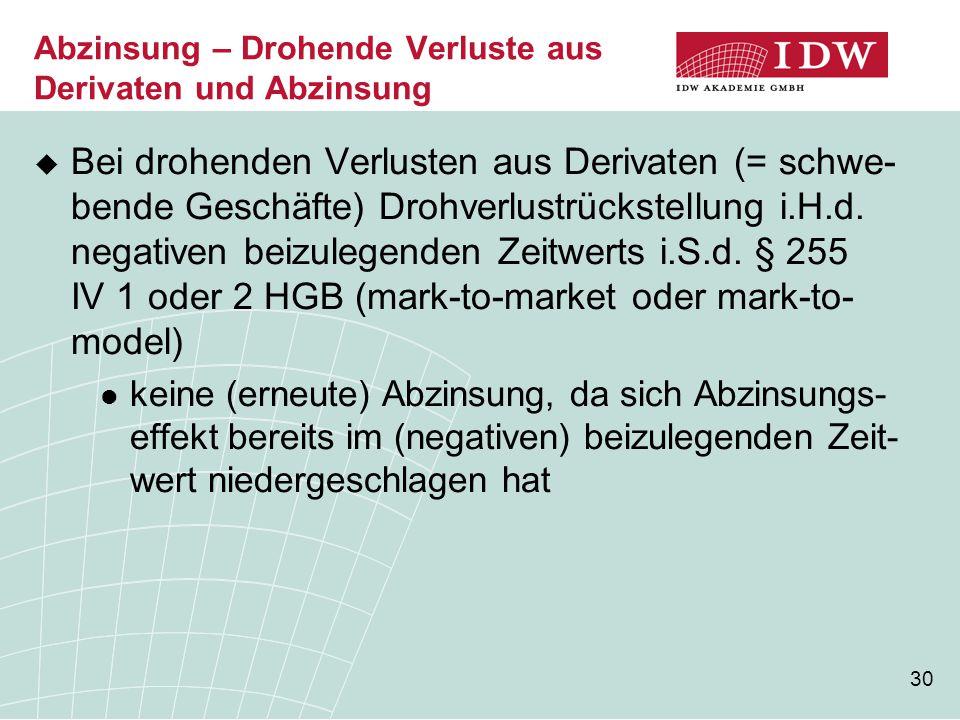 30  Bei drohenden Verlusten aus Derivaten (= schwe- bende Geschäfte) Drohverlustrückstellung i.H.d. negativen beizulegenden Zeitwerts i.S.d. § 255 IV