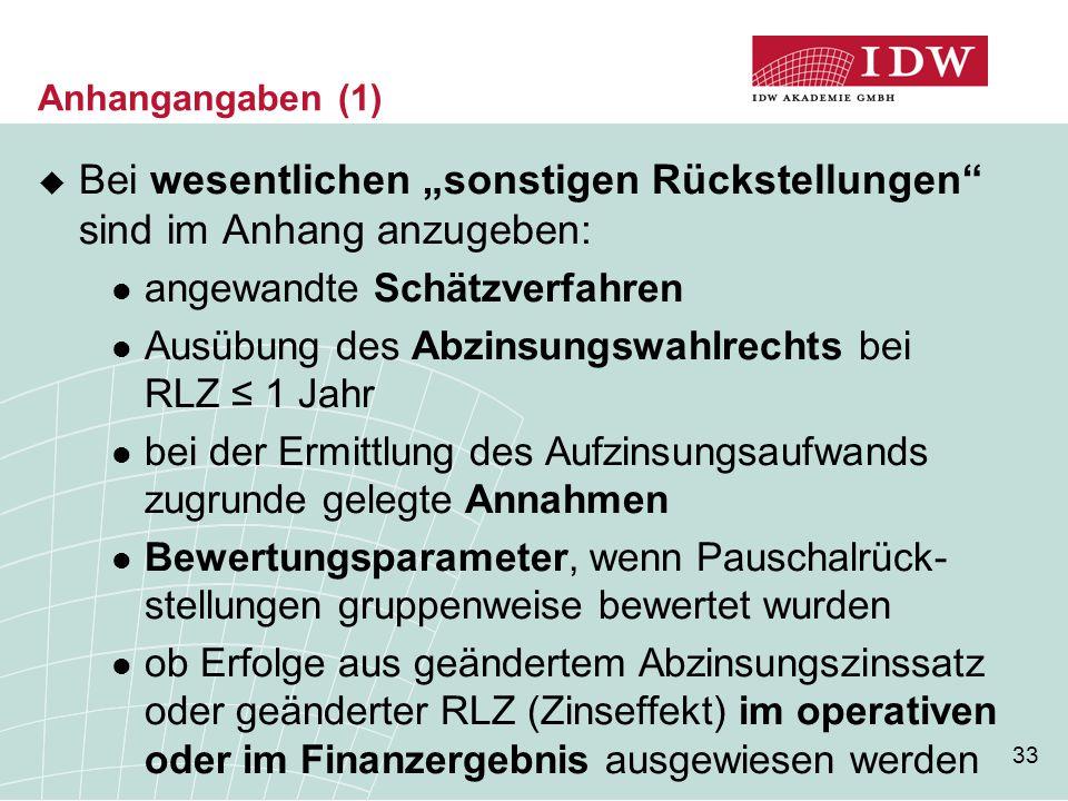 """33  Bei wesentlichen """"sonstigen Rückstellungen"""" sind im Anhang anzugeben: angewandte Schätzverfahren Ausübung des Abzinsungswahlrechts bei RLZ ≤ 1 Ja"""