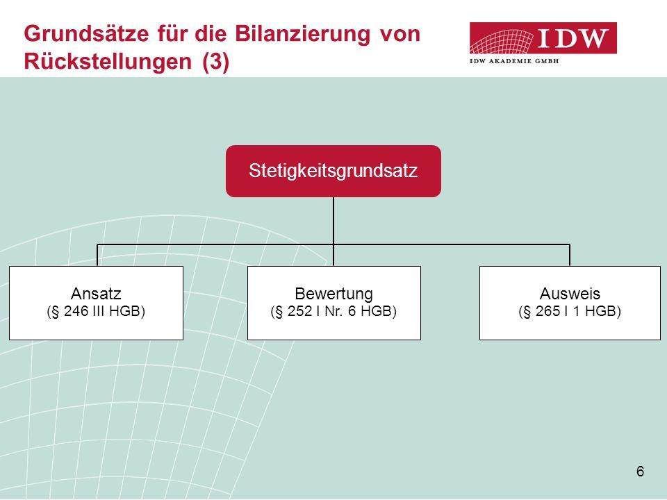 6 Grundsätze für die Bilanzierung von Rückstellungen (3) Stetigkeitsgrundsatz Ansatz (§ 246 III HGB) Bewertung (§ 252 I Nr. 6 HGB) Ausweis (§ 265 I 1