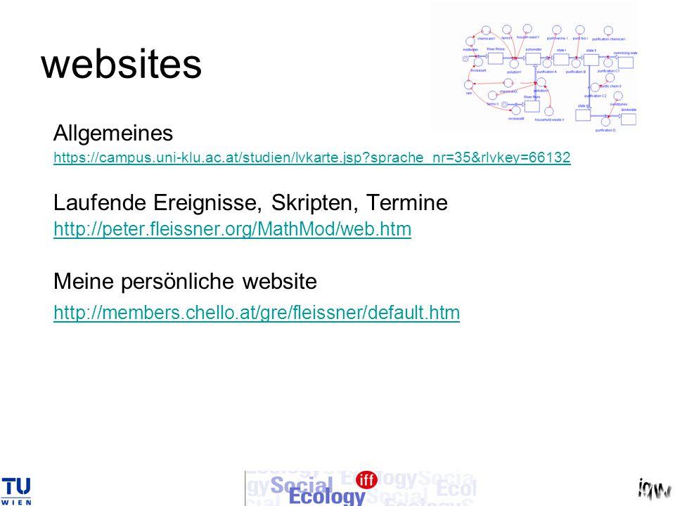 websites Allgemeines https://campus.uni-klu.ac.at/studien/lvkarte.jsp sprache_nr=35&rlvkey=66132 Laufende Ereignisse, Skripten, Termine http://peter.fleissner.org/MathMod/web.htm Meine persönliche website http://members.chello.at/gre/fleissner/default.htm
