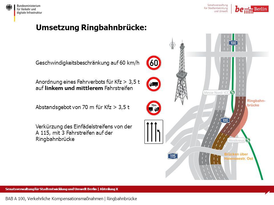 BAB A 100, Verkehrliche Kompensationsmaßnahmen   Ringbahnbrücke Umsetzung Ringbahnbrücke: Geschwindigkeitsbeschränkung auf 60 km/h Anordnung eines Fah