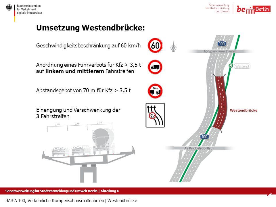 BAB A 100, Verkehrliche Kompensationsmaßnahmen   Westendbrücke Umsetzung Westendbrücke: Geschwindigkeitsbeschränkung auf 60 km/h Anordnung eines Fahrv