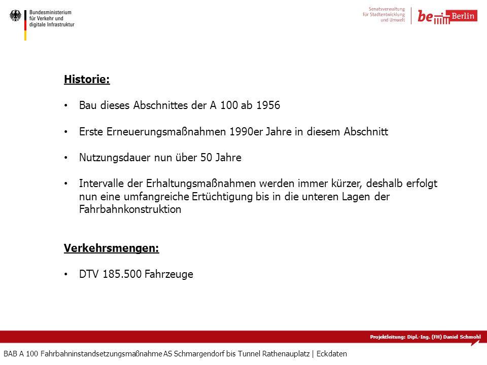 Projektleitung: Dipl.-Ing. (FH) Daniel Schmohl BAB A 100 Fahrbahninstandsetzungsmaßnahme AS Schmargendorf bis Tunnel Rathenauplatz   Eckdaten Historie