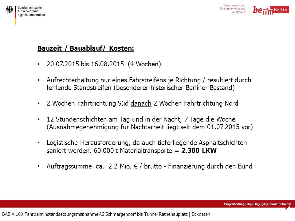 Projektleitung: Dipl.-Ing. (FH) Daniel Schmohl BAB A 100 Fahrbahninstandsetzungsmaßnahme AS Schmargendorf bis Tunnel Rathenauplatz   Eckdaten Bauzeit