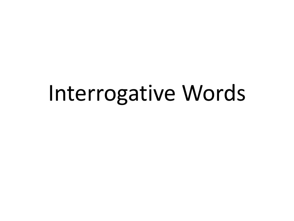 Interrogative Words