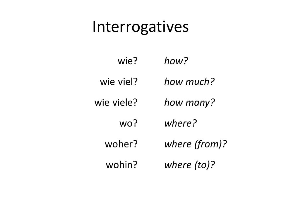 Interrogatives wie? wie viel? wie viele? wo? woher? wohin? how? how much? how many? where? where (from)? where (to)?