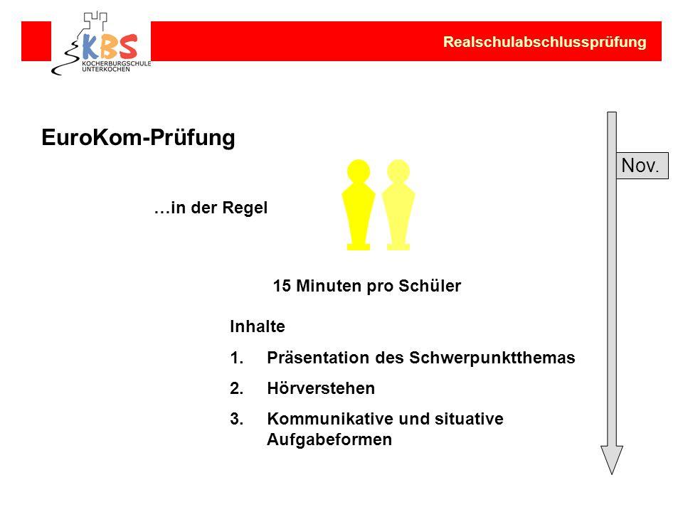 EuroKom-Prüfung …in der Regel Inhalte 1.Präsentation des Schwerpunktthemas 2.Hörverstehen 3.Kommunikative und situative Aufgabeformen Realschulabschlu