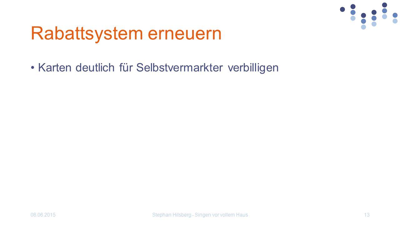 Rabattsystem erneuern Karten deutlich für Selbstvermarkter verbilligen 08.06.2015Stephan Hilsberg - Singen vor vollem Haus13