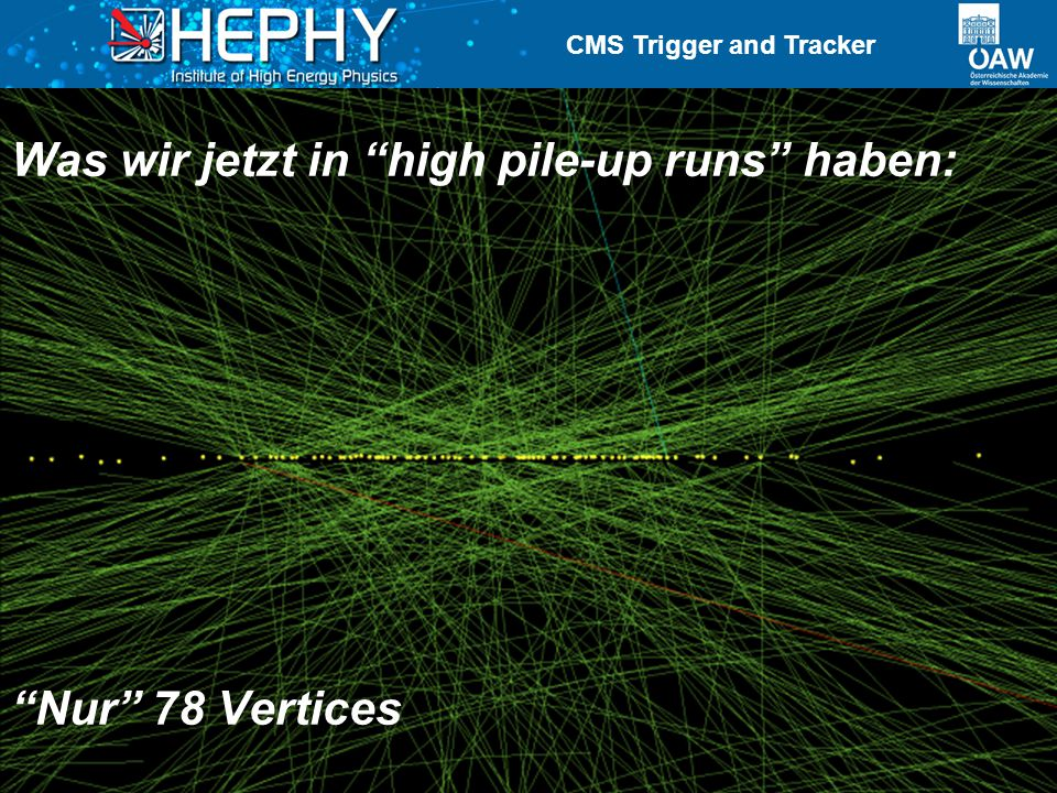 CMS Trigger and Tracker Manfred Jeitler18 October 201210 Nur 78 Vertices Was wir jetzt in high pile-up runs haben: