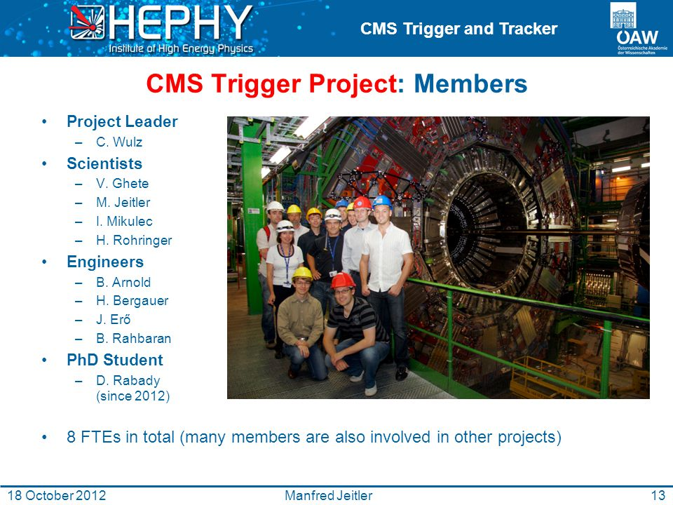 CMS Trigger and Tracker 13Manfred Jeitler18 October 2012 CMS Trigger Project: Members Project Leader –C.