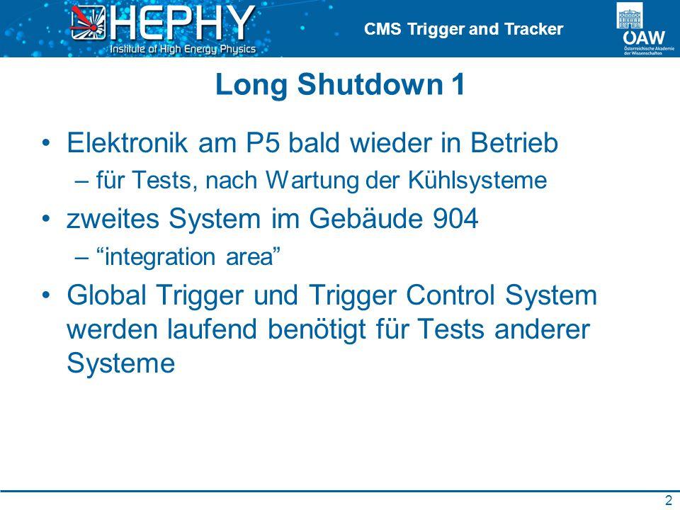 CMS Trigger and Tracker Long Shutdown 1 Elektronik am P5 bald wieder in Betrieb –für Tests, nach Wartung der Kühlsysteme zweites System im Gebäude 904 – integration area Global Trigger und Trigger Control System werden laufend benötigt für Tests anderer Systeme 2