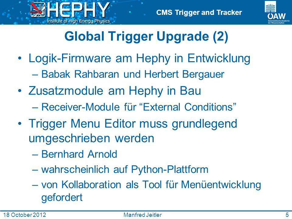 CMS Trigger and Tracker Global Trigger Upgrade (2) Logik-Firmware am Hephy in Entwicklung –Babak Rahbaran und Herbert Bergauer Zusatzmodule am Hephy in Bau –Receiver-Module für External Conditions Trigger Menu Editor muss grundlegend umgeschrieben werden –Bernhard Arnold –wahrscheinlich auf Python-Plattform –von Kollaboration als Tool für Menüentwicklung gefordert 5Manfred Jeitler18 October 2012