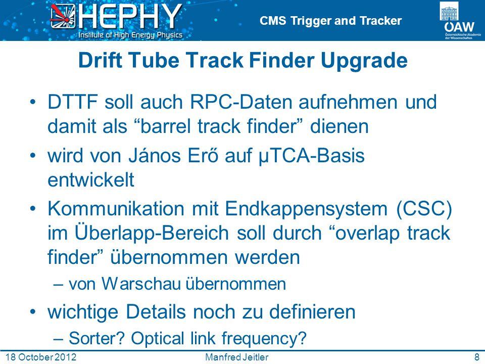CMS Trigger and Tracker Drift Tube Track Finder Upgrade DTTF soll auch RPC-Daten aufnehmen und damit als barrel track finder dienen wird von János Erő auf μTCA-Basis entwickelt Kommunikation mit Endkappensystem (CSC) im Überlapp-Bereich soll durch overlap track finder übernommen werden –von Warschau übernommen wichtige Details noch zu definieren –Sorter.