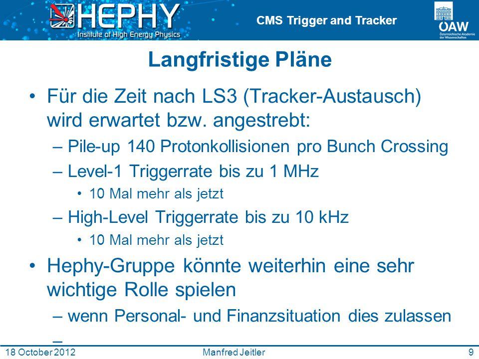 CMS Trigger and Tracker Manfred Jeitler18 October 201210 Nur 78 Vertices Was wir jetzt in high pile-up runs haben: