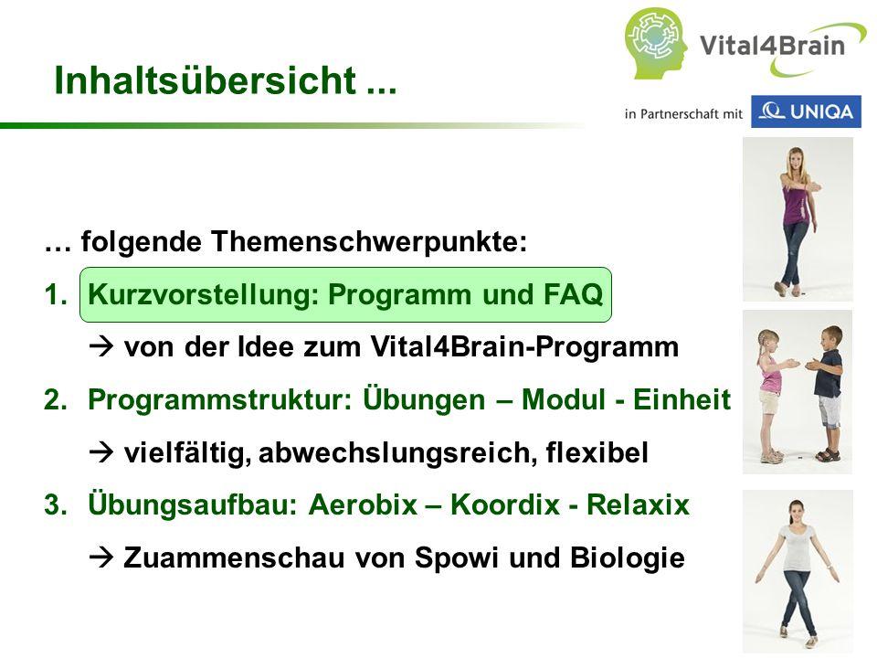 Chart 2 … folgende Themenschwerpunkte: 1.Kurzvorstellung: Programm und FAQ  von der Idee zum Vital4Brain-Programm 2.Programmstruktur: Übungen – Modul - Einheit  vielfältig, abwechslungsreich, flexibel 3.Übungsaufbau: Aerobix – Koordix - Relaxix  Zuammenschau von Spowi und Biologie Inhaltsübersicht...