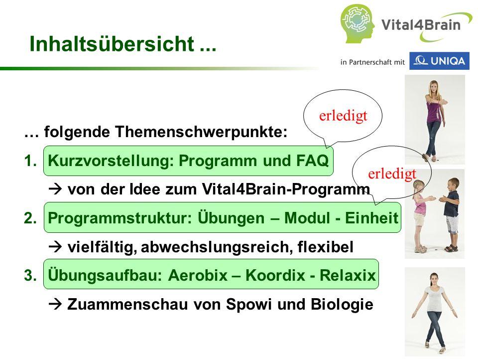 Chart 21 … folgende Themenschwerpunkte: 1.Kurzvorstellung: Programm und FAQ  von der Idee zum Vital4Brain-Programm 2.Programmstruktur: Übungen – Modul - Einheit  vielfältig, abwechslungsreich, flexibel 3.Übungsaufbau: Aerobix – Koordix - Relaxix  Zuammenschau von Spowi und Biologie Inhaltsübersicht...