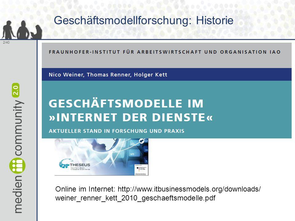 2/40 Geschäftsmodellforschung: Historie Online im Internet: http://www.itbusinessmodels.org/downloads/ weiner_renner_kett_2010_geschaeftsmodelle.pdf