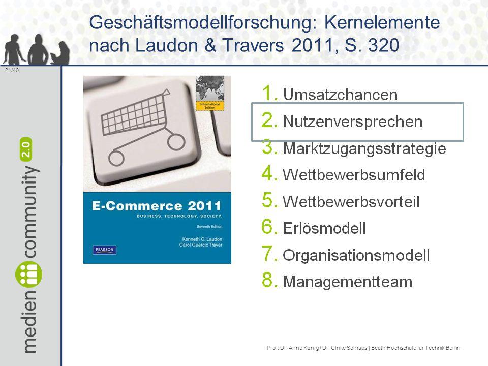 21/40 Geschäftsmodellforschung: Kernelemente nach Laudon & Travers 2011, S.