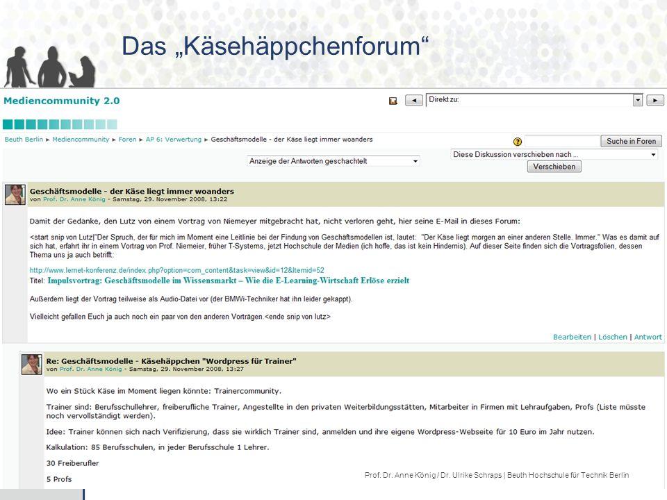 """30/40 Das """"Käsehäppchenforum Prof.Dr. Anne König / Dr."""