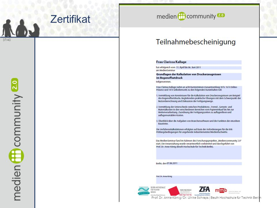 37/40 Zertifikat Prof. Dr. Anne König / Dr. Ulrike Schraps | Beuth Hochschule für Technik Berlin