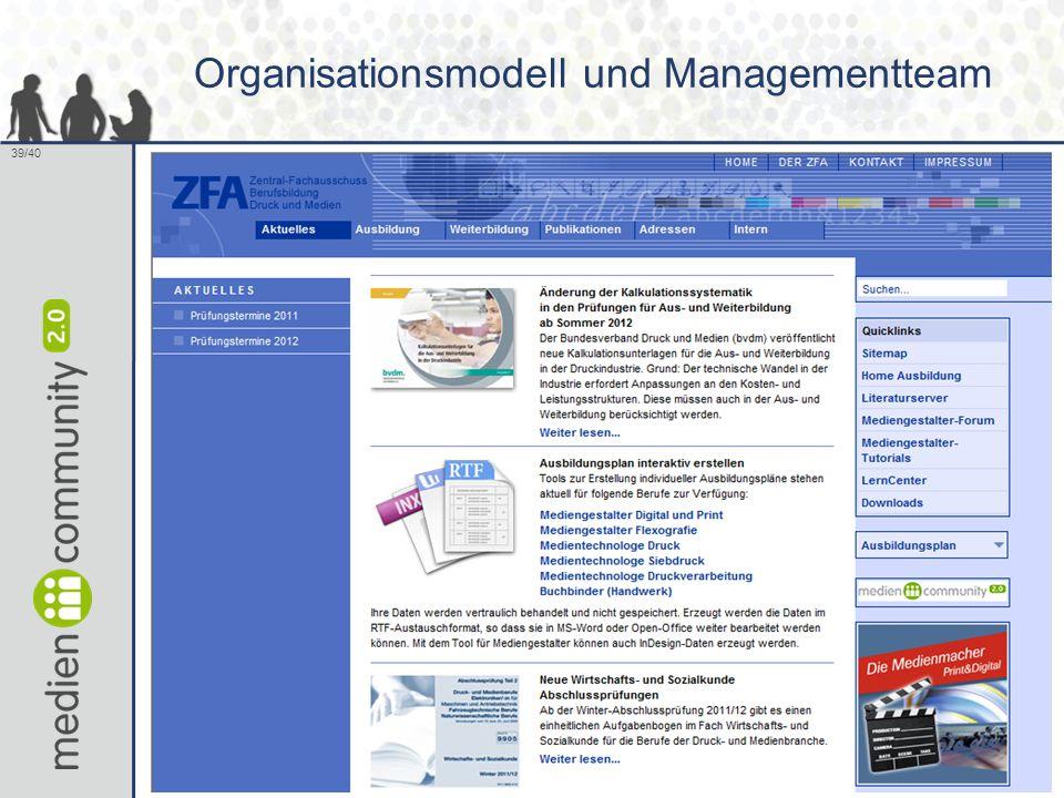 39/40 Organisationsmodell und Managementteam 39