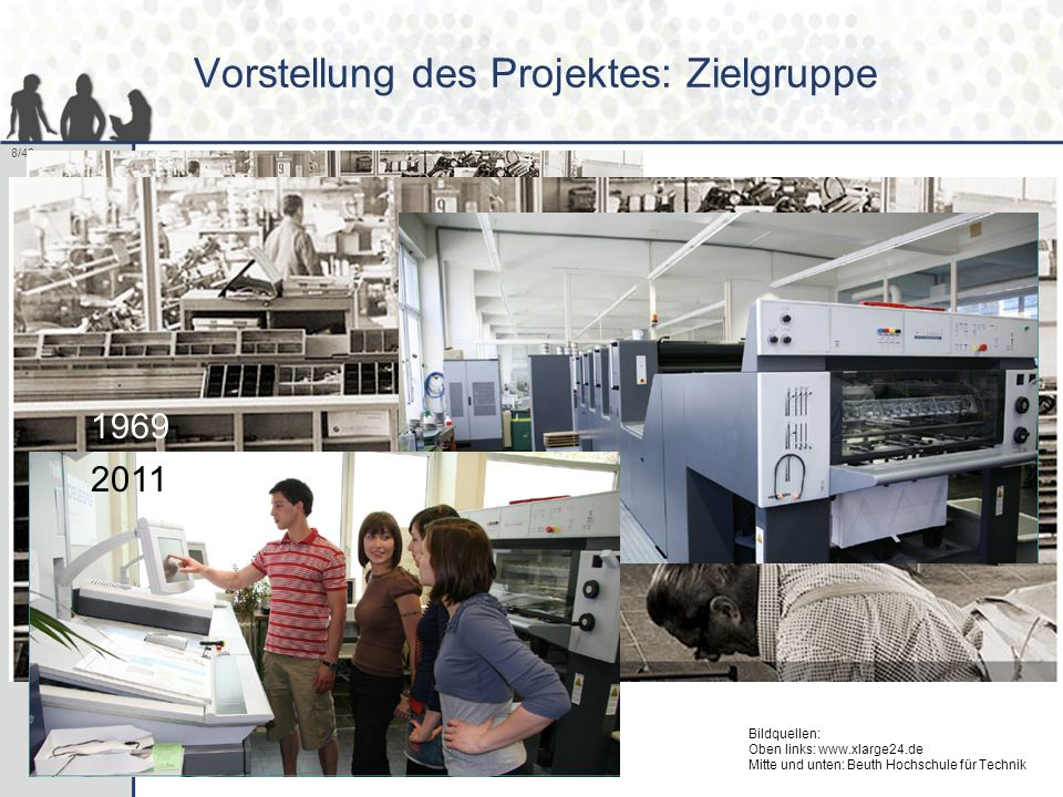 8/40 Vorstellung des Projektes: Zielgruppe 1969 2011 Bildquellen: Oben links: www.xlarge24.de Mitte und unten: Beuth Hochschule für Technik