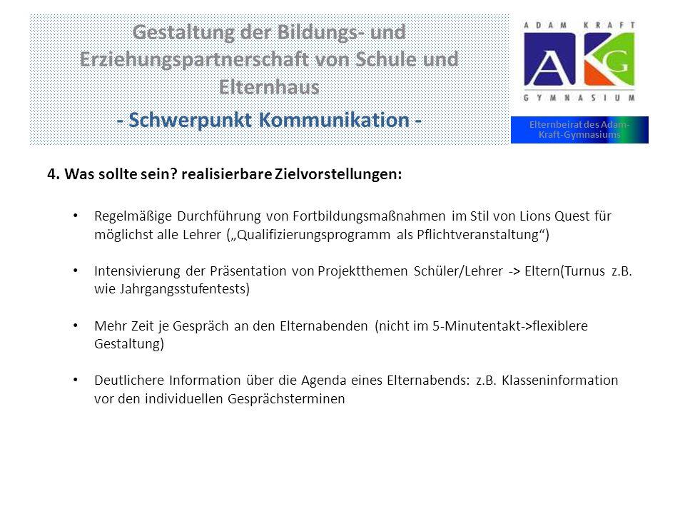 Gestaltung der Bildungs- und Erziehungspartnerschaft von Schule und Elternhaus - Schwerpunkt Kommunikation - Elternbeirat des Adam- Kraft-Gymnasiums 4.