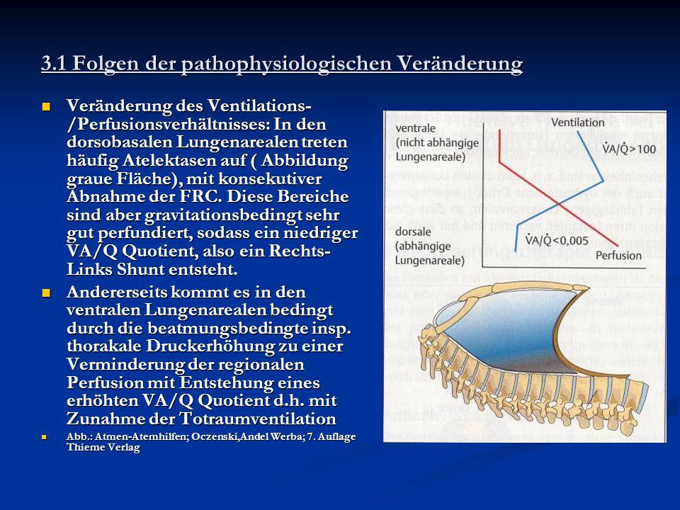 3.1 Folgen der pathophysiologischen Veränderung Veränderung des Ventilations- /Perfusionsverhältnisses: In den dorsobasalen Lungenarealen treten häufi