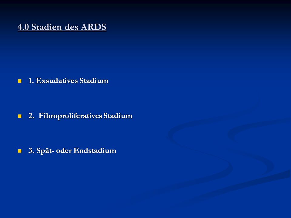 1.Exsudatives Stadium 1. Exsudatives Stadium 2. Fibroproliferatives Stadium 2.