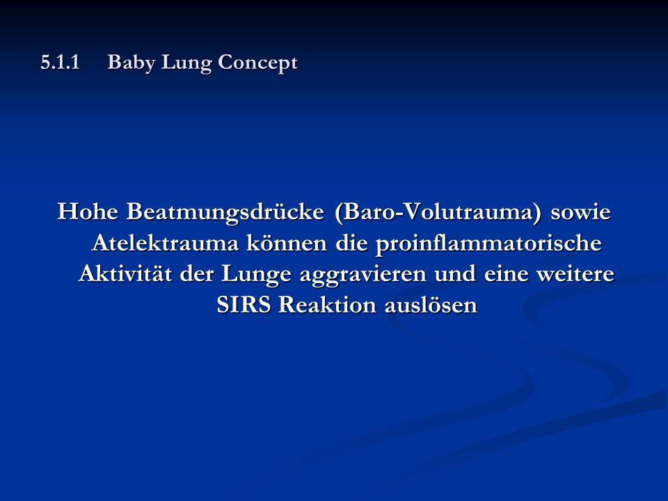 5.1.1Baby Lung Concept Hohe Beatmungsdrücke (Baro-Volutrauma) sowie Atelektrauma können die proinflammatorische Aktivität der Lunge aggravieren und ei