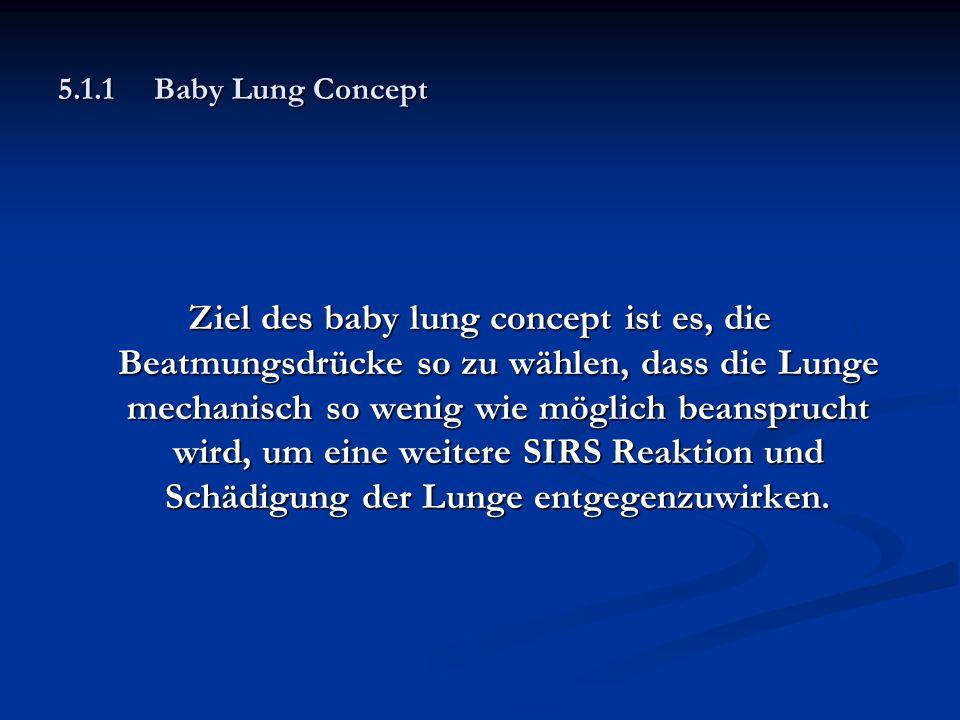 5.1.1Baby Lung Concept Ziel des baby lung concept ist es, die Beatmungsdrücke so zu wählen, dass die Lunge mechanisch so wenig wie möglich beansprucht