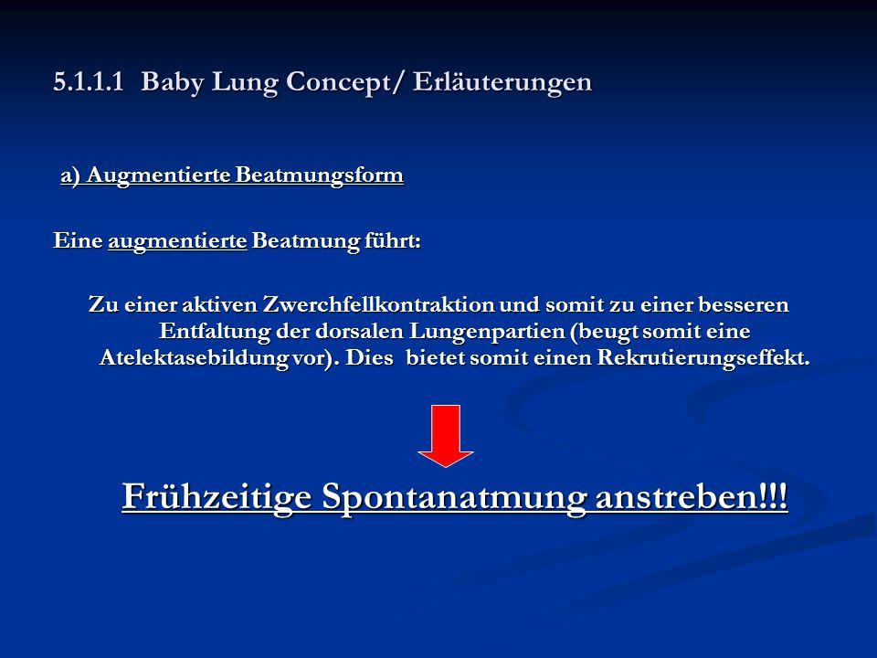 5.1.1.1Baby Lung Concept/ Erläuterungen a) Augmentierte Beatmungsform a) Augmentierte Beatmungsform Eine augmentierte Beatmung führt: Zu einer aktiven