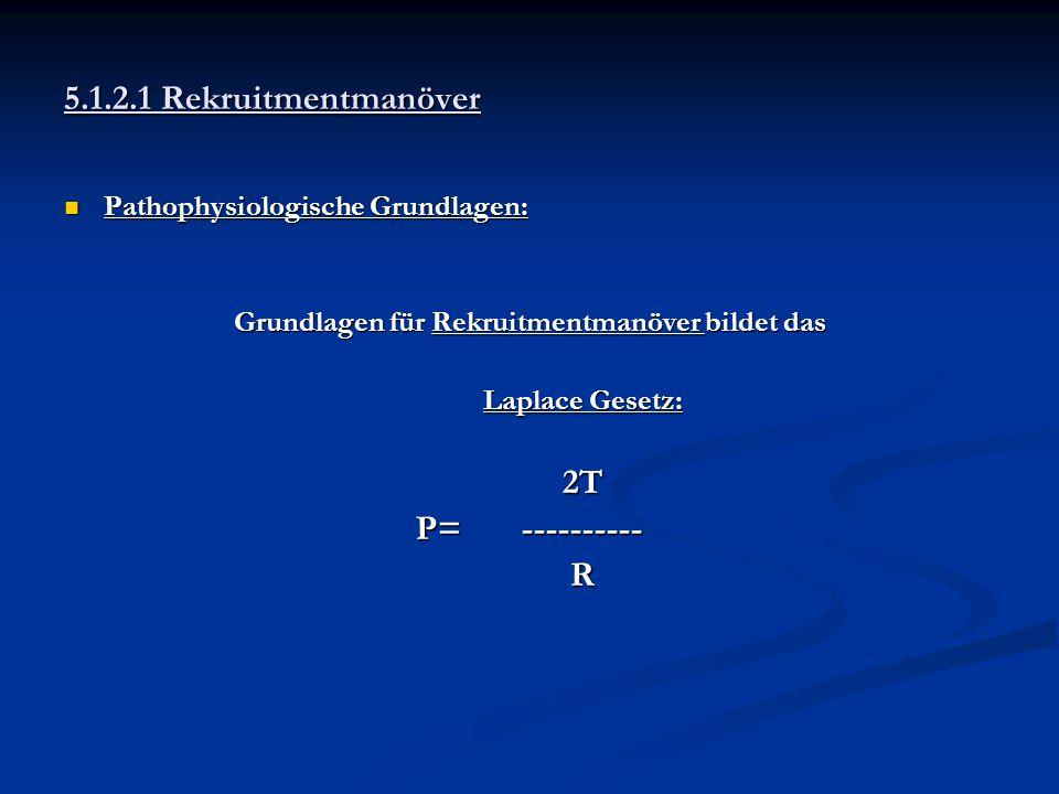 5.1.2.1 Rekruitmentmanöver Pathophysiologische Grundlagen: Pathophysiologische Grundlagen: Grundlagen für Rekruitmentmanöver bildet das Laplace Gesetz