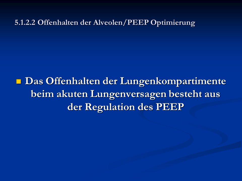 5.1.2.2 Offenhalten der Alveolen/PEEP Optimierung Das Offenhalten der Lungenkompartimente beim akuten Lungenversagen besteht aus der Regulation des PE
