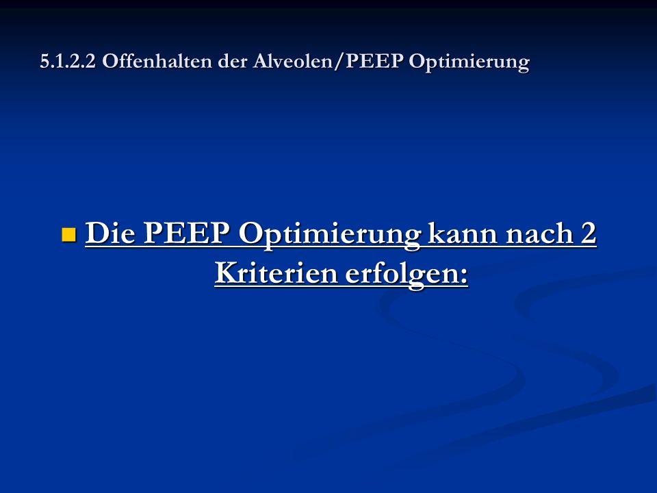 5.1.2.2 Offenhalten der Alveolen/PEEP Optimierung Die PEEP Optimierung kann nach 2 Kriterien erfolgen: Die PEEP Optimierung kann nach 2 Kriterien erfo