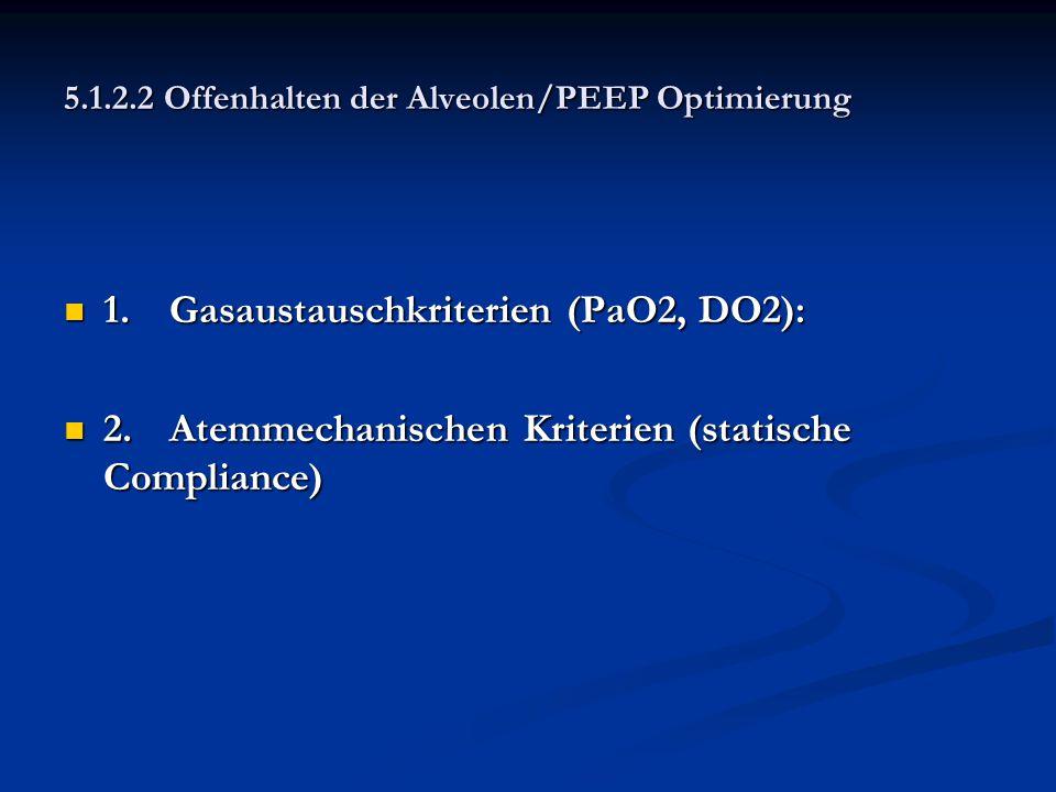 5.1.2.2 Offenhalten der Alveolen/PEEP Optimierung 1.Gasaustauschkriterien (PaO2, DO2): 1.Gasaustauschkriterien (PaO2, DO2): 2.Atemmechanischen Kriteri