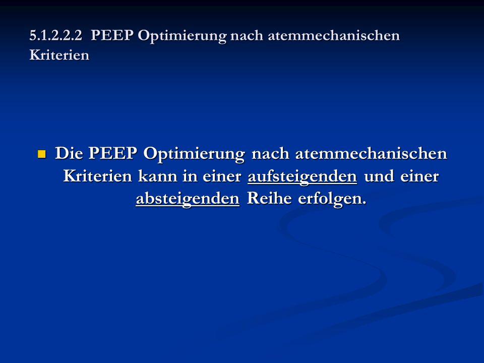 Die PEEP Optimierung nach atemmechanischen Kriterien kann in einer aufsteigenden und einer absteigenden Reihe erfolgen. Die PEEP Optimierung nach atem