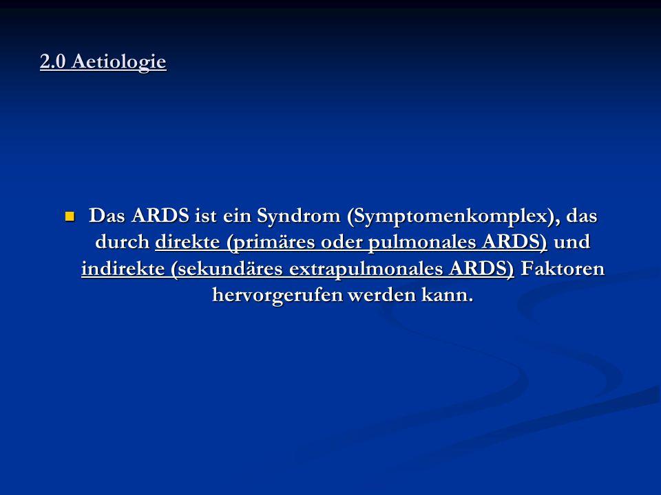 Das ARDS ist ein Syndrom (Symptomenkomplex), das durch direkte (primäres oder pulmonales ARDS) und indirekte (sekundäres extrapulmonales ARDS) Faktore