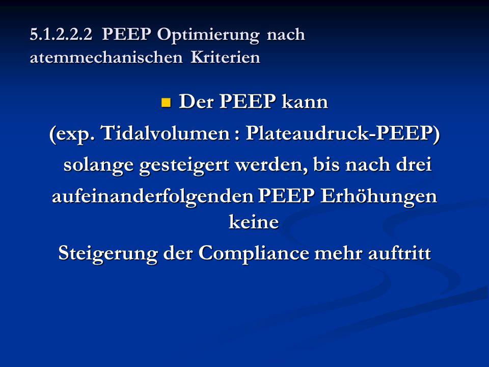 5.1.2.2.2 PEEP Optimierung nach atemmechanischen Kriterien Der PEEP kann Der PEEP kann (exp. Tidalvolumen : Plateaudruck-PEEP) solange gesteigert werd