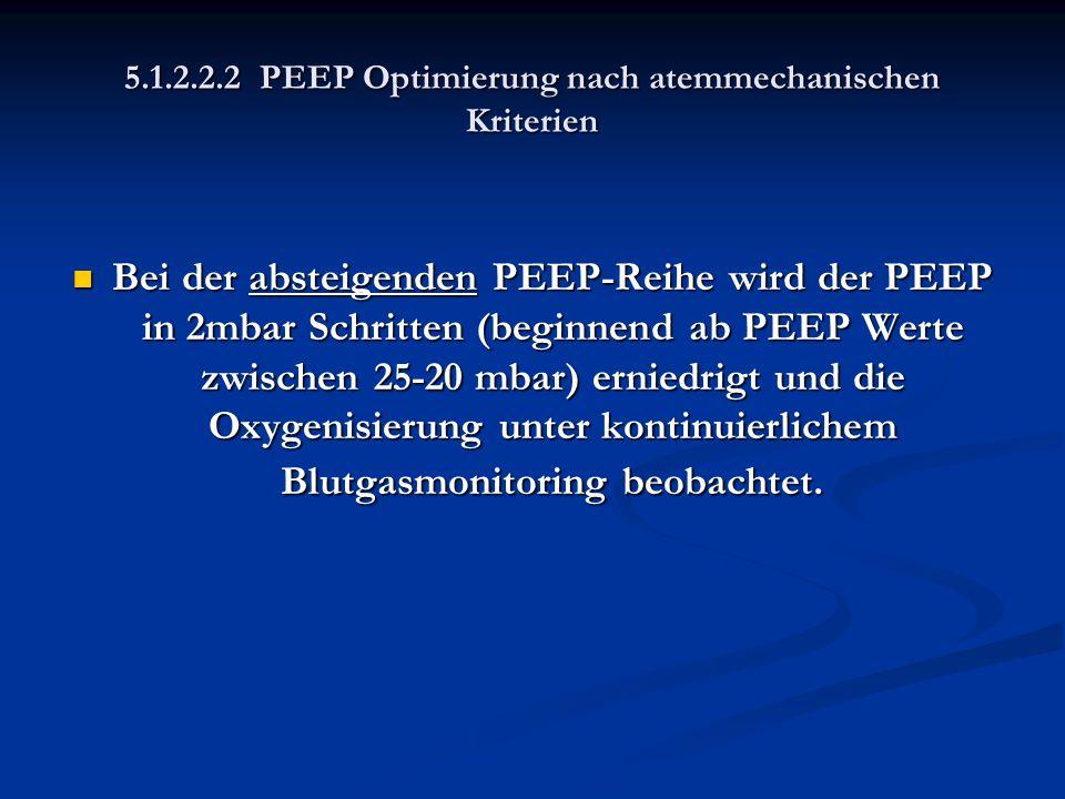 5.1.2.2.2 PEEP Optimierung nach atemmechanischen Kriterien Bei der absteigenden PEEP-Reihe wird der PEEP in 2mbar Schritten (beginnend ab PEEP Werte z