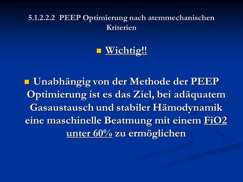 5.1.2.2.2 PEEP Optimierung nach atemmechanischen Kriterien Wichtig!! Wichtig!! Unabhängig von der Methode der PEEP Optimierung ist es das Ziel, bei ad